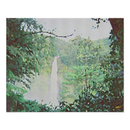 Hawaii waterfall Oil Painting Poster