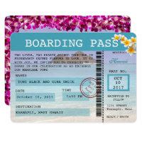 Hawaii Wedding Boarding Pass Invitation