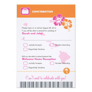 Hawaii Wedding RSVP Confirmation Boarding Pass Personalized Invitations