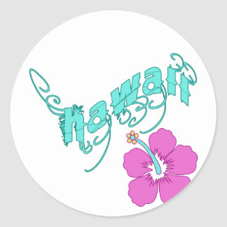 Hawaii with Hibiscus Products Classic Round Sticker