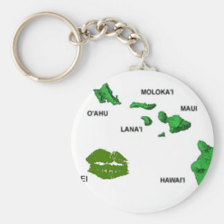 HAWAII... WITH MAP OF LEI ISLAND BASIC ROUND BUTTON KEYCHAIN