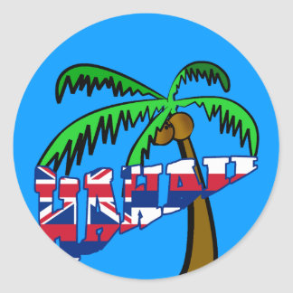 Hawaii with Palm Tree Products Classic Round Sticker