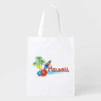 Hawaii with Palm Trees, Surf Board and Flowers Reusable Grocery Bag