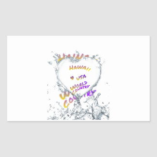 Hawaii world city, Water splash heart Rectangular Sticker