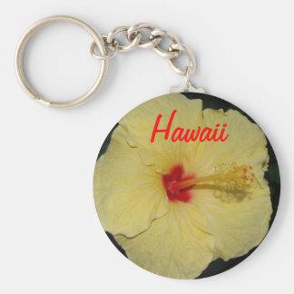 Hawaii Yellow Hibiscus Basic Round Button Keychain