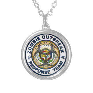 Hawaii Zombie Outbreak Response Team Silver Plated Necklace