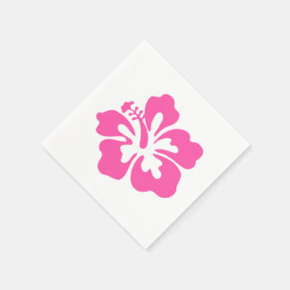 Hawaiiain pink flower hibiscus tropical floral napkin