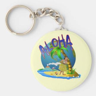 Hawaiian Aloha Basic Round Button Keychain