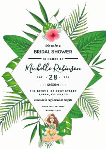 hawaiian aloha luau bridal shower invitation
