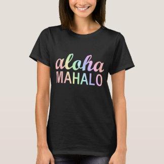 Hawaiian Aloha Mahalo Typography in Pastel Rainbow T-Shirt