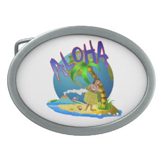 Hawaiian Aloha Oval Belt Buckle