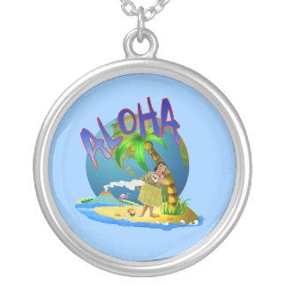 Hawaiian Aloha Round Pendant Necklace