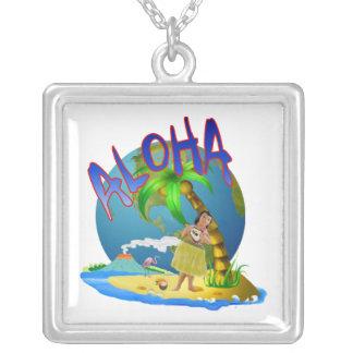 Hawaiian Aloha Square Pendant Necklace