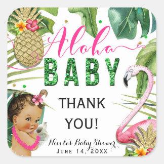 Hawaiian Aloha Tropical Baby Girl Vintage Favor Square Sticker