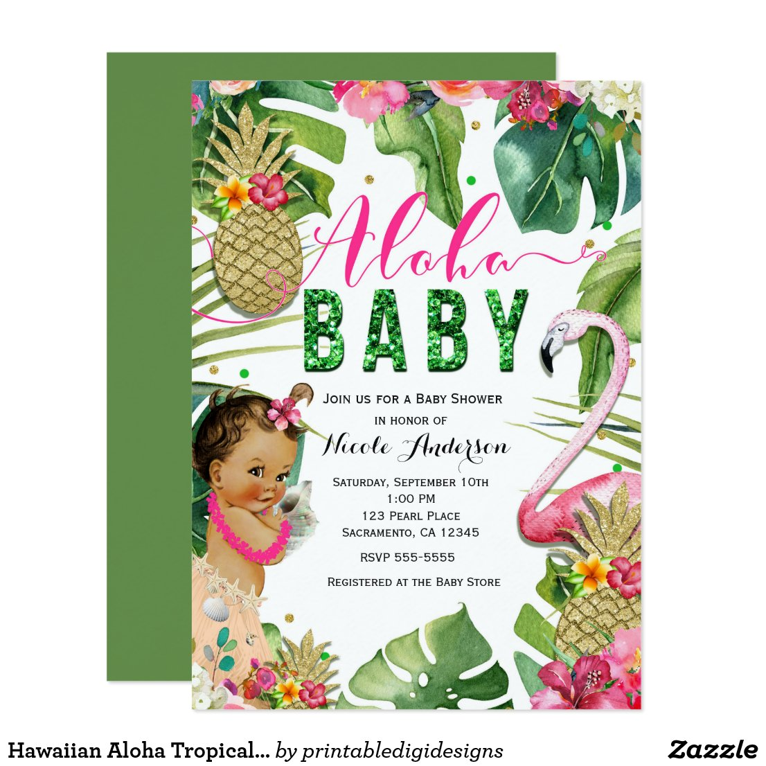 Hawaiian Aloha Tropical Baby Girl Vintage Shower