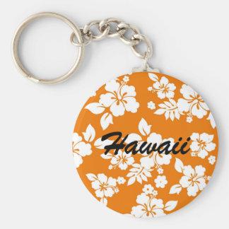 Hawaiian anaranjado llavero redondo tipo pin
