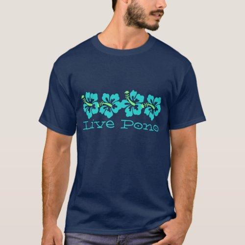 Hawaiian Aqua Hibiscus Live Pono Surfer Retro T_Shirt