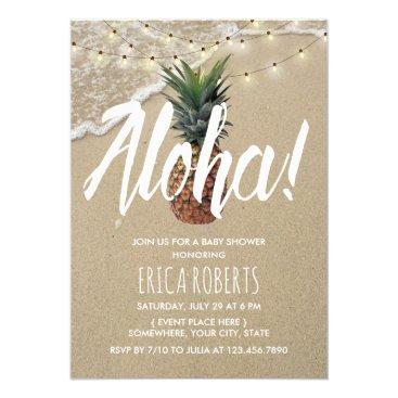 Beach Themed Hawaiian Beach Aloha Pineapple Baby Shower Card