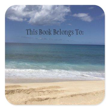 Beach Themed Hawaiian Beach Book Label