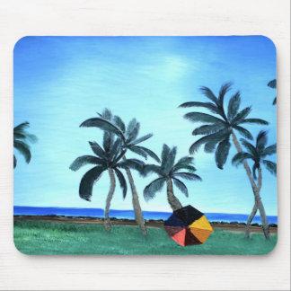 Hawaiian Beach Park & Palm Trees Painting Mouse Pad