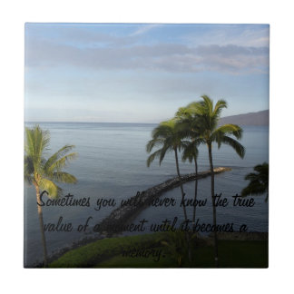 Hawaiian Beach Scene Inspirational Tile