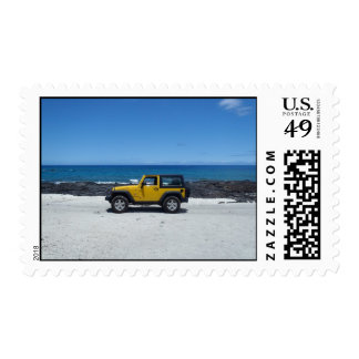 Hawaiian beach scene jeep adventure stamps
