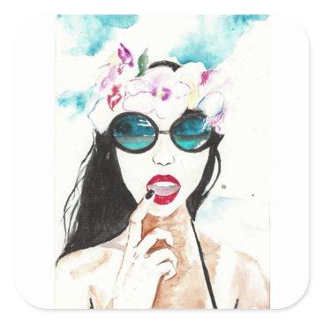 Hawaiian Beauty Square Sticker