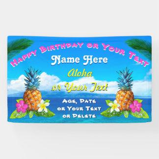 Hawaiian Birthday Banner with Real Hawaiian Images