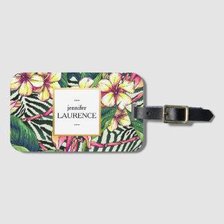 Hawaiian Bold Plumeria Bright Floral Personalized Bag Tag