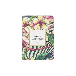 Hawaiian Bold Plumeria Bright Floral Personalized Passport Holder