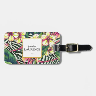 Hawaiian Bold Plumeria Bright Floral Personalized Tag For Luggage