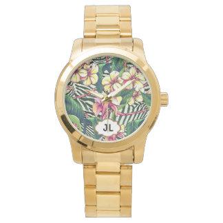 Hawaiian Bold Plumeria Bright Floral Personalized Wrist Watch