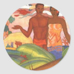 'Hawaiian Boy and Girl', by Arman Manookian Round Stickers
