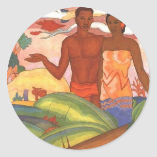 'Hawaiian Boy and Girl', by Arman Manookian Round Stickers