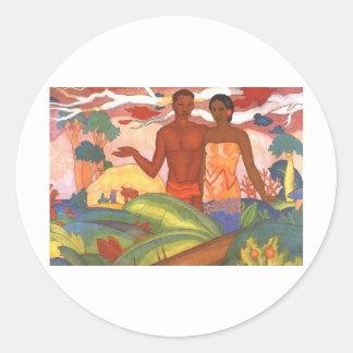 'Hawaiian Boy and Girl', by Arman Manookian Round Sticker