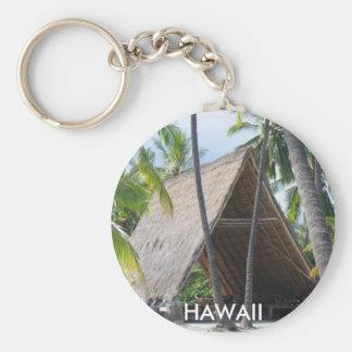 Hawaiian Canoe Hut Basic Round Button Keychain