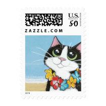 Hawaiian Cat Wearing Leis Illustration Postage