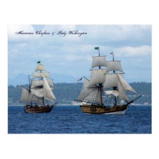 Hawaiian Chieftain & Lady Washington Postcard
