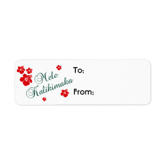 Hawaiian Christmas Gift Tag Label