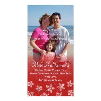 Hawaiian Christmas Hibiscus Snowflake Photo Card