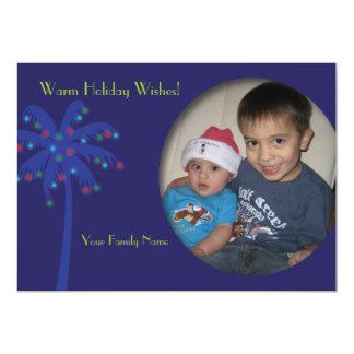 Hawaiian Christmas Lighted Coconut Tree Photo Card