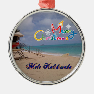 Hawaiian Christmas Ornament Silver-Colored Round Ornament