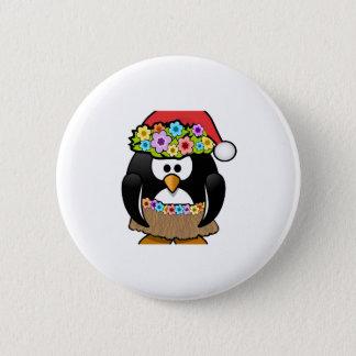 Hawaiian Christmas Penguin Button
