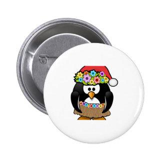 Hawaiian Christmas Penguin 2 Inch Round Button