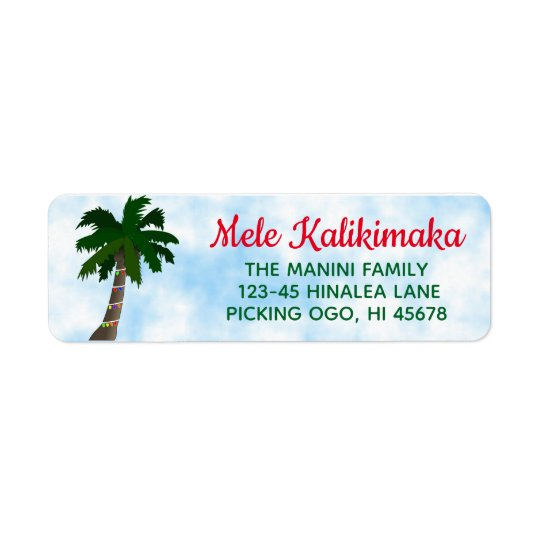 hawaiian christmas return address labels palm tree zazzle com
