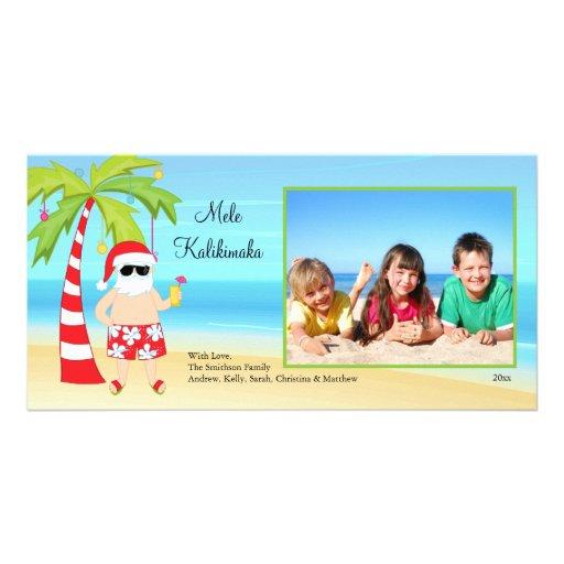Hawaiian Christmas Santa Christmas Photo Card.