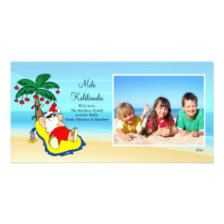 Hawaiian Christmas Santa Christmas Photo Card. Card