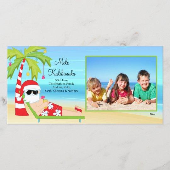 hawaiian christmas santa christmas photo card holiday card - Hawaiian Christmas Cards