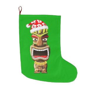 Hawaiian Christmas Santa Tiki Large Christmas Stocking