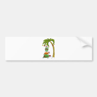 Hawaiian Christmas Turtle Santas Bumper Sticker
